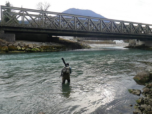 Nymph fishing course at river Ill in Austria