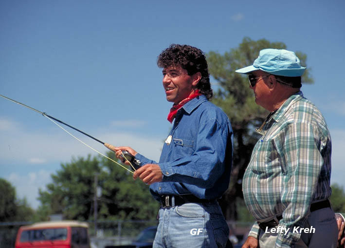 Günter Feuerstein fly casting with Lefty Kreh